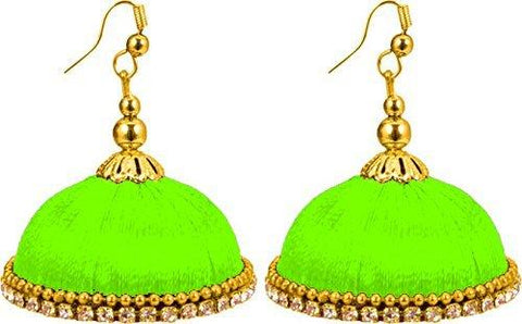 Green Color Silk Thread Ear Rings - Maya-010