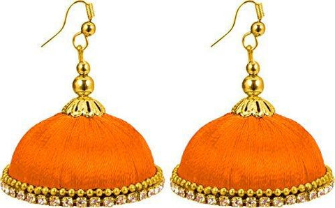 Dark Orange Color Silk Thread Ear Rings - Maya-012