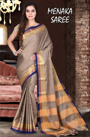 Beige and RawBlue Color Cotton Masaraised Saree - Menaka-001