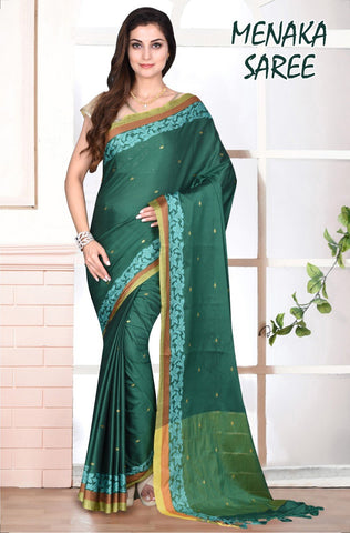 Green and SilkGold Color Cotton Masaraised Saree - Meneka-002