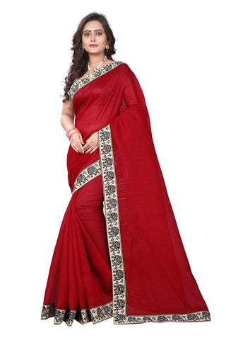 Red Color Chanderi Cotton Saree - Mini-elephant
