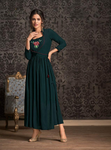 Dark Green Color Rayon Stitched Kurti - Miraaz1-21001