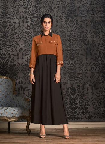 Brown  Color Rayon Stitched Kurti - Miraaz1-21002