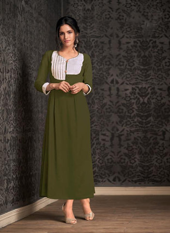 Mahendi Green Color Rayon Stitched Kurti - Miraaz1-21003