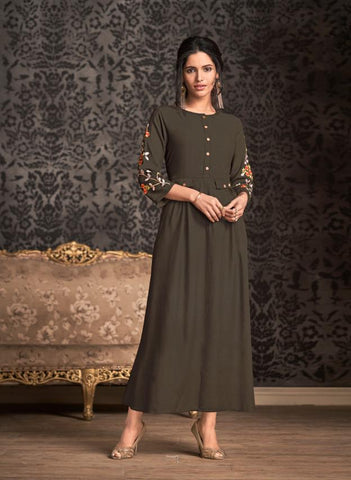 Dusty Brown Color Rayon Stitched Kurti - Miraaz1-21007