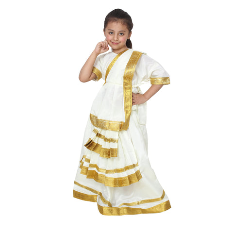 White Color Cotton Blend Fancy Costume Dress  - Mohininatyam-1