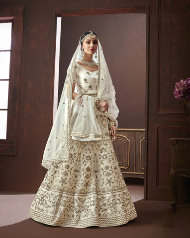 Off White Color Organza Silk Semi Stitched Lehenga - Moksha-4881