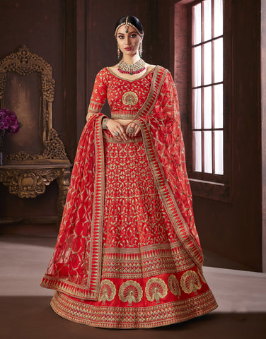 Red Color Pure Soft Silk Semi Stitched Lehenga - Moksha-4882