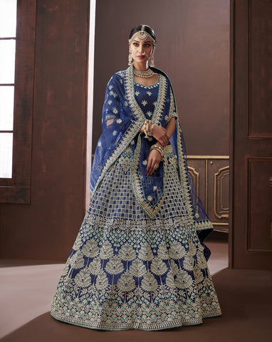 Navy Blue Color Apple Silk Semi Stitched Lehenga - Moksha-4884