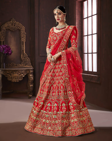 Red Color Pure Soft Silk Semi Stitched Lehenga - Moksha-4886