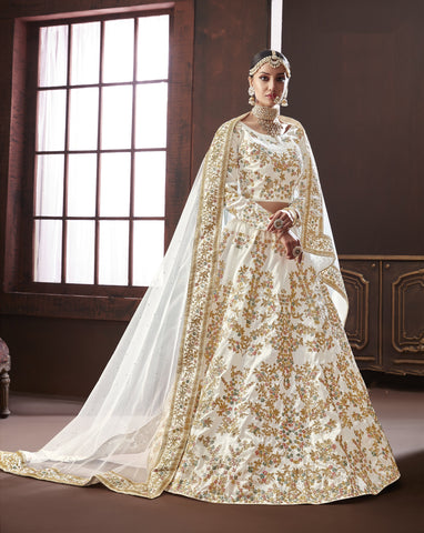 White Color Pure Silk Semi Stitched Lehenga - Moksha-4887
