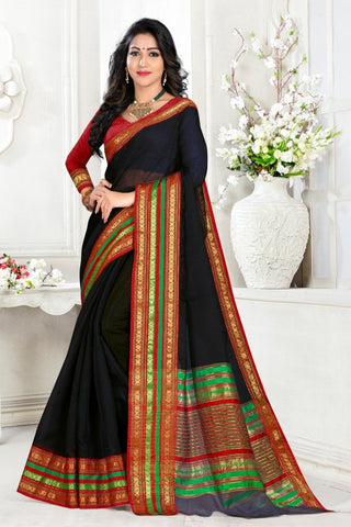 Black Color Cotton Kota Doria Saree - Monika-Black