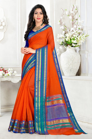 Orange Color Cotton Kota Doria Saree - Monika-Light-Orange