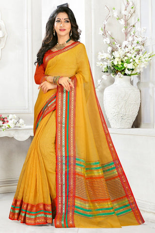 Yellow Color Cotton Kota Doria Saree - Monika-Yellow