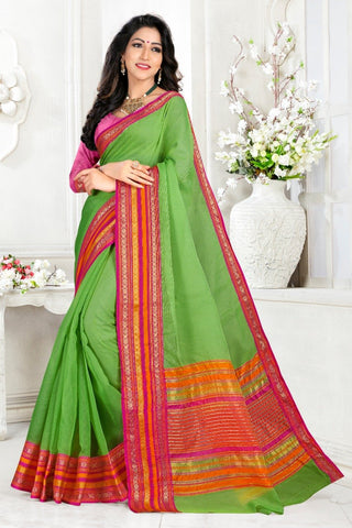 Green Color Cotton Kota Doria Saree - Monika-green