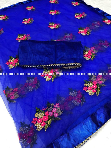 Blue Color Pure Mono Net Saree - Mono-Blue