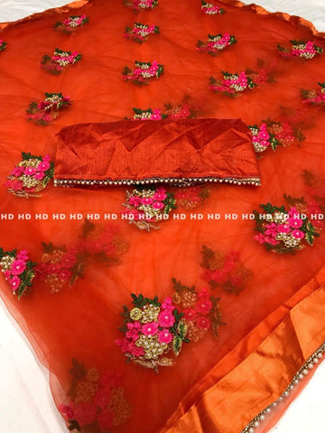 Orange Color Pure Mono Net Saree - Mono-Orange