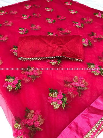 Pink Color Pure Mono Net Saree - Mono-Pink