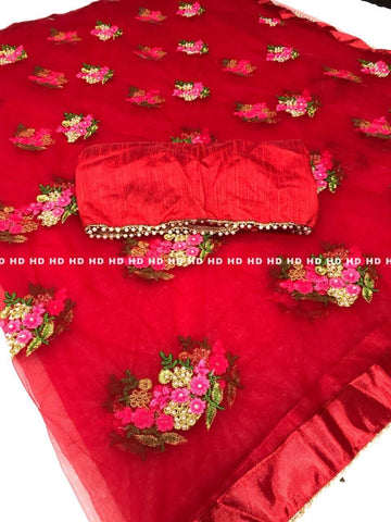 Red Color Pure Mono Net Saree - Mono-Red