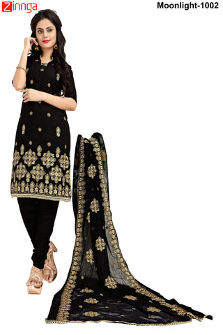 MINU FASHION- Women's Beautiful  Black Color Cotton Un Stitched Salwar Kameez-Moonlight-1002