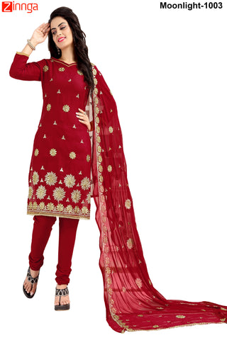 MINU FASHION- Women's Beautiful Red Color Cotton Un Stitched Salwar Kameez-Moonlight-1003