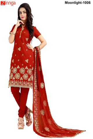 MINU FASHION- Women's Beautiful Red Color Cotton Un Stitched Salwar Kameez-Moonlight-1006