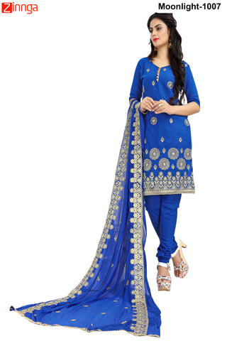 MINU FASHION- Women's Beautiful  Blue Color Cotton Un Stitched Salwar Kameez-Moonlight-1007
