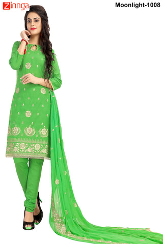MINU FASHION- Women's Beautiful Green Color Cotton Un Stitched Salwar Kameez-Moonlight-1008