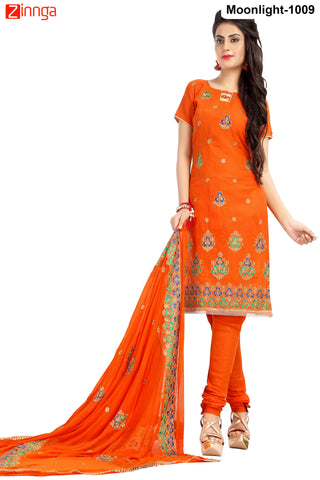 MINU FASHION- Women's Beautiful Orange  Color Cotton Salwar Kameez-Moonlight-1009