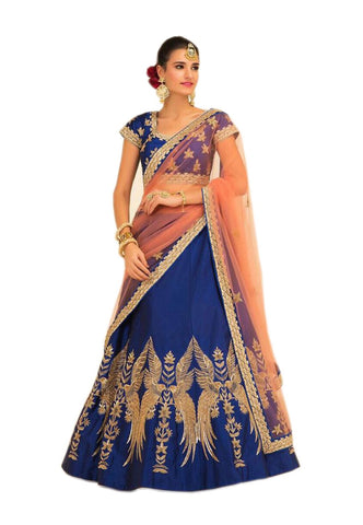 Blue Color Taffeta Silk Stitched Lehenga - Mozo-Blue-Lehenga