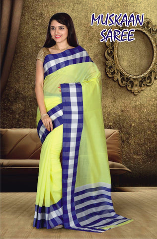Lemon and Rblue Color Cotton Masaraised Saree - Muskan-001