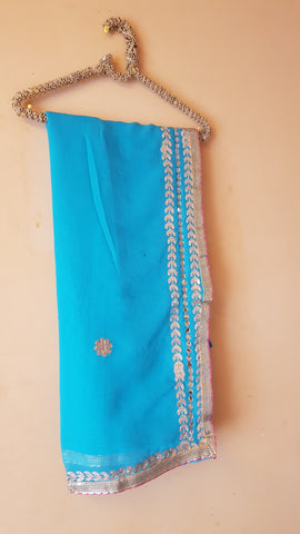 Blue Color Georgette Women's Saree - NAOMI221