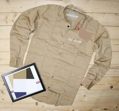 Beige Color Cotton Mens Shirt - NATIDO-221