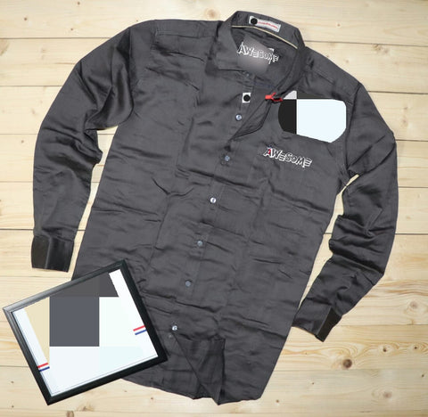 Grey Color Cotton Mens Shirt - NATIDO-222