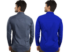 Combo Shirts Navy Blue and Royal Blue - 1ABF-NB-RB
