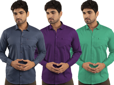 3 Combo Shirts Navy Blue, Purple and Parrot Green - 1ABF-NB-PR-PG