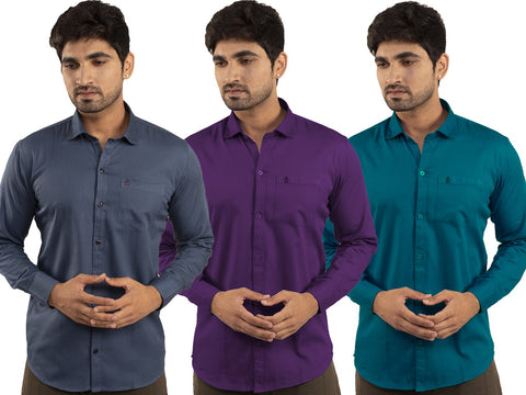 3 Combo Shirts Navy Blue, Purple and Sea Green - 1ABF-NB-PR-SG