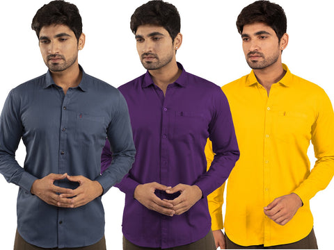 3 Combo Shirts Navy Blue, Purple and Yellow - 1ABF-NB-PR-YW