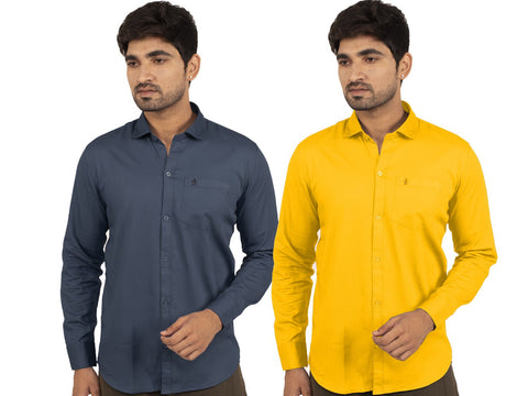 Combo Shirts Navy Blue and Yellow - 1ABF-NB-YW
