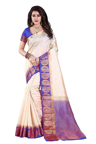 Off White Color Kanjivaram Silk Saree - NCC-102C
