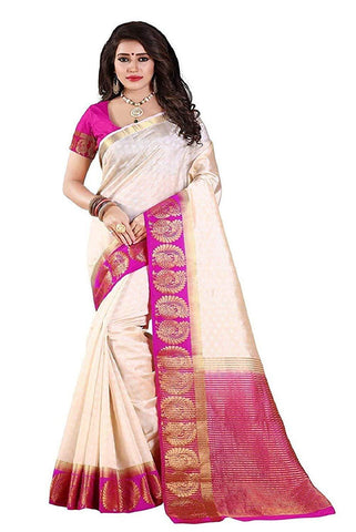 Off White Color Kanjivaram Silk Saree - NCC-102D
