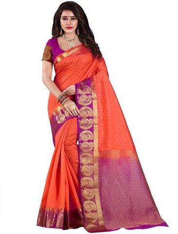 Dark Orange Color Kanjivaram Silk Saree - NCC-102F