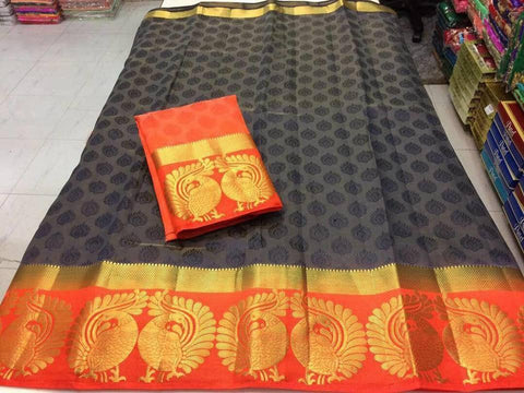 Grey Color Kanjivaram Silk Saree - NCC-102J