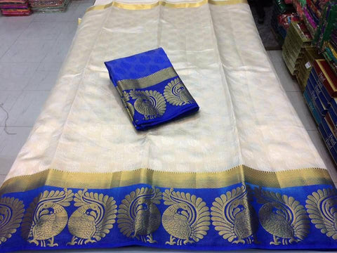 White Color Kanjivaram Silk Saree - NCC-102K