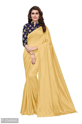 Beige Color Plain Paper Silk Saree - NCC128B