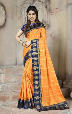 Orange Color Sana Panetar Silk Saree - NCC130B