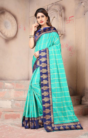 Turquoise Color Sana Panetar Silk Saree - NCC130C