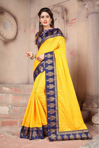 Yellow Color Sana Panetar Silk Saree - NCC130D