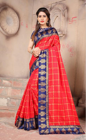 Red Color Sana Panetar Silk Saree - NCC130E