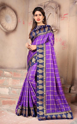 Purple Color Sana Panetar Silk Saree - NCC130G